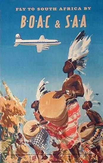 VINTAGE FLY TO USA BOAC AMERICA TRAVEL A4 POSTER PRINT