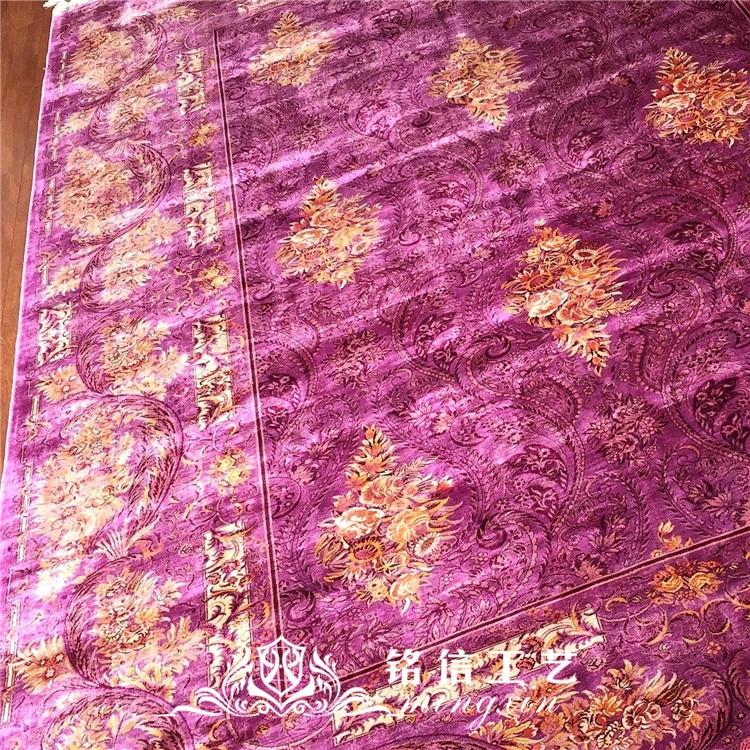 7'x10' tapis de soie persan noués à la main tapis de zone orientale en soie tissée à la main - 4