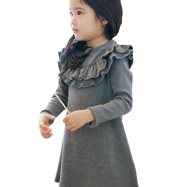 Платье для девочек; детское платье трапециевидной формы с оборками; высокое качество; коллекция 2018 года; платье для девочек; одежда для детей; платья для малышей; Модная одежда для маленьких принцесс