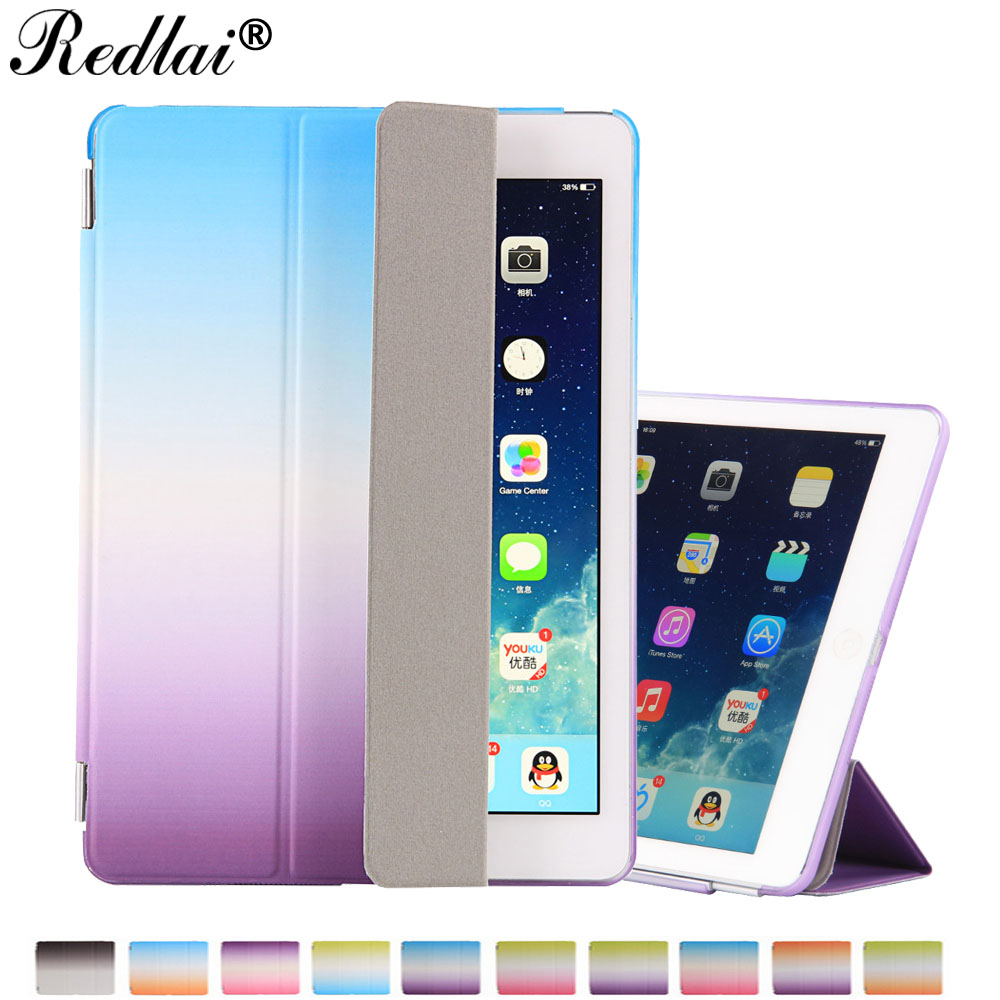 For Apple iPad Pro 9.7 Case Rainbow Gradient PU Leather Slim Flip Smart Stand Cover Case Hard Back Cover For iPad Pro 9.7inch nice soft silicone back magnetic smart pu leather case for apple 2017 ipad air 1 cover new slim thin flip tpu protective case