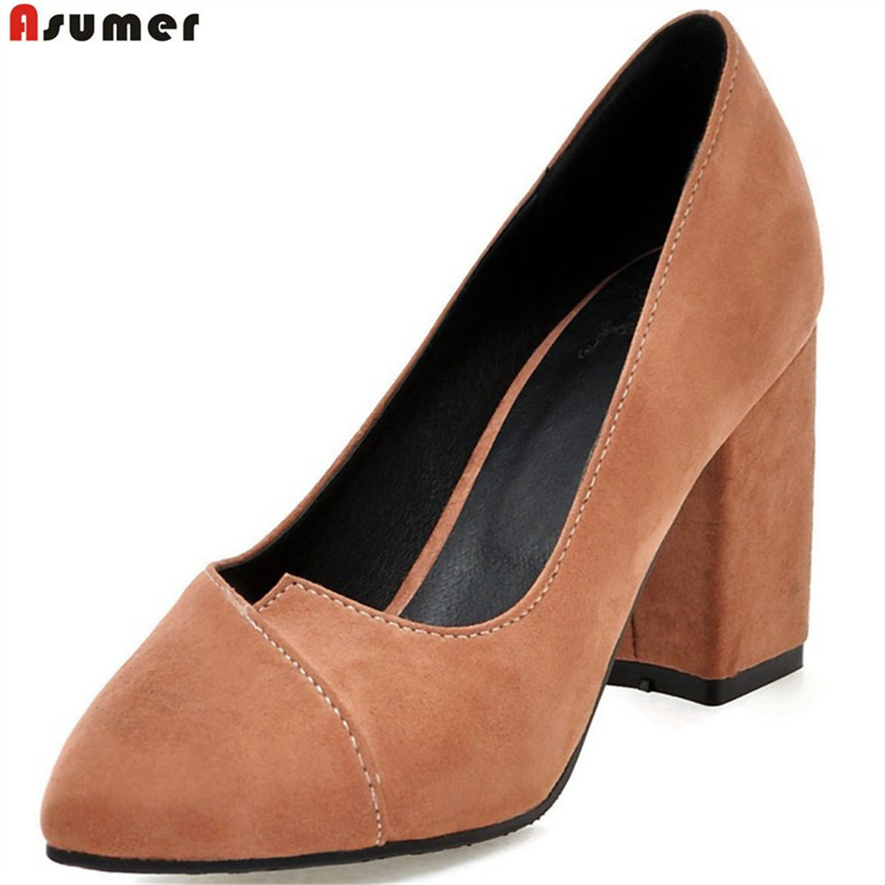 Asumer 2018 fashion new arrival women pumps pointed toe ladies shoes square heel shallow flock elegant high heels shoes big size memunia flock pointed toe ladies summer high heels shoes fashion buckle color mixing women pumps elegant lady prom shoes