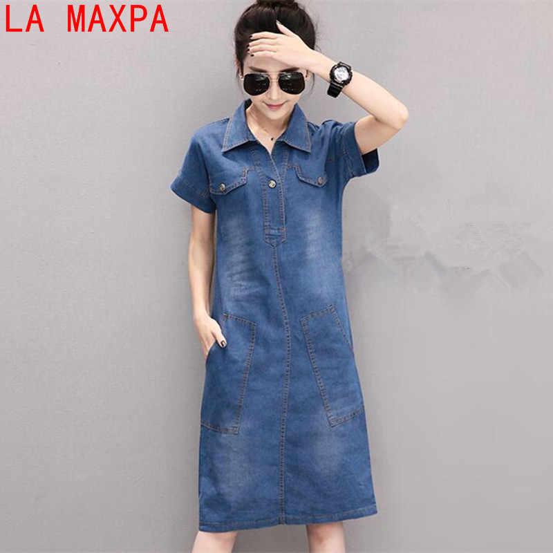 72e904f8e7f 2019 новое летнее джинсовое платье женское винтажное Turn-Down воротник короткий  рукав карманы джинсы платья
