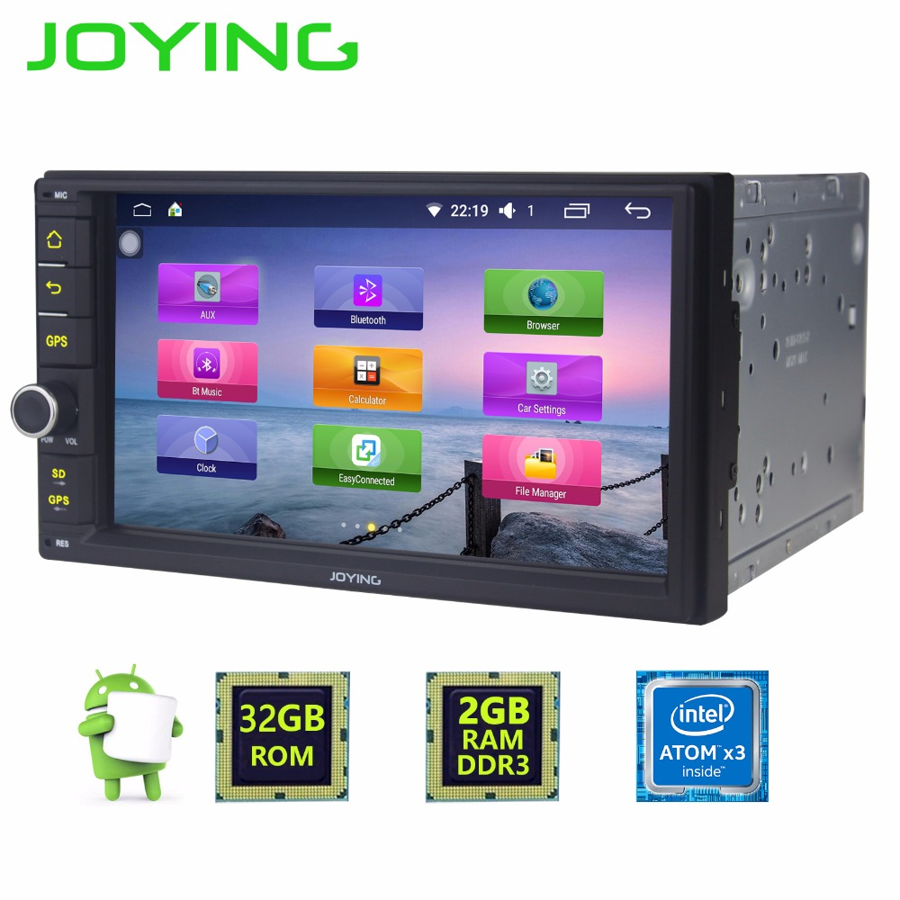 Joying Android 6.0 2 GB + 32 GB Evrensel Quad Core Çift Din Yeni Araç Ses Stereo GPS Bluetooth Radyo otomotiv Multimedya Oynatıcı