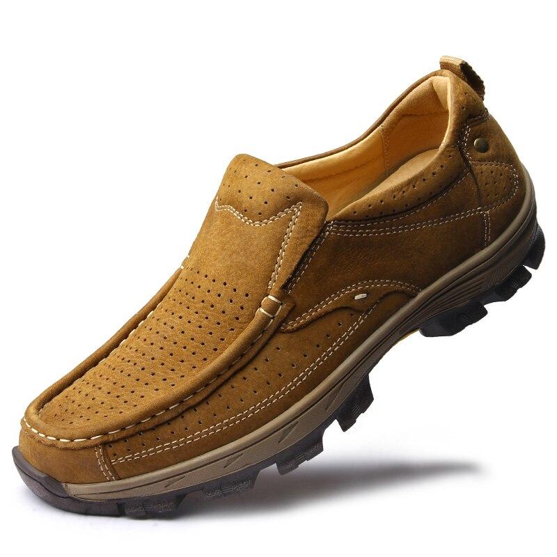 2019 printemps Split cuir chaussures décontractées hommes mocassins sans lacet hommes chaussures appartements confortables hommes automne chaussures en cuir mocassins DA0155