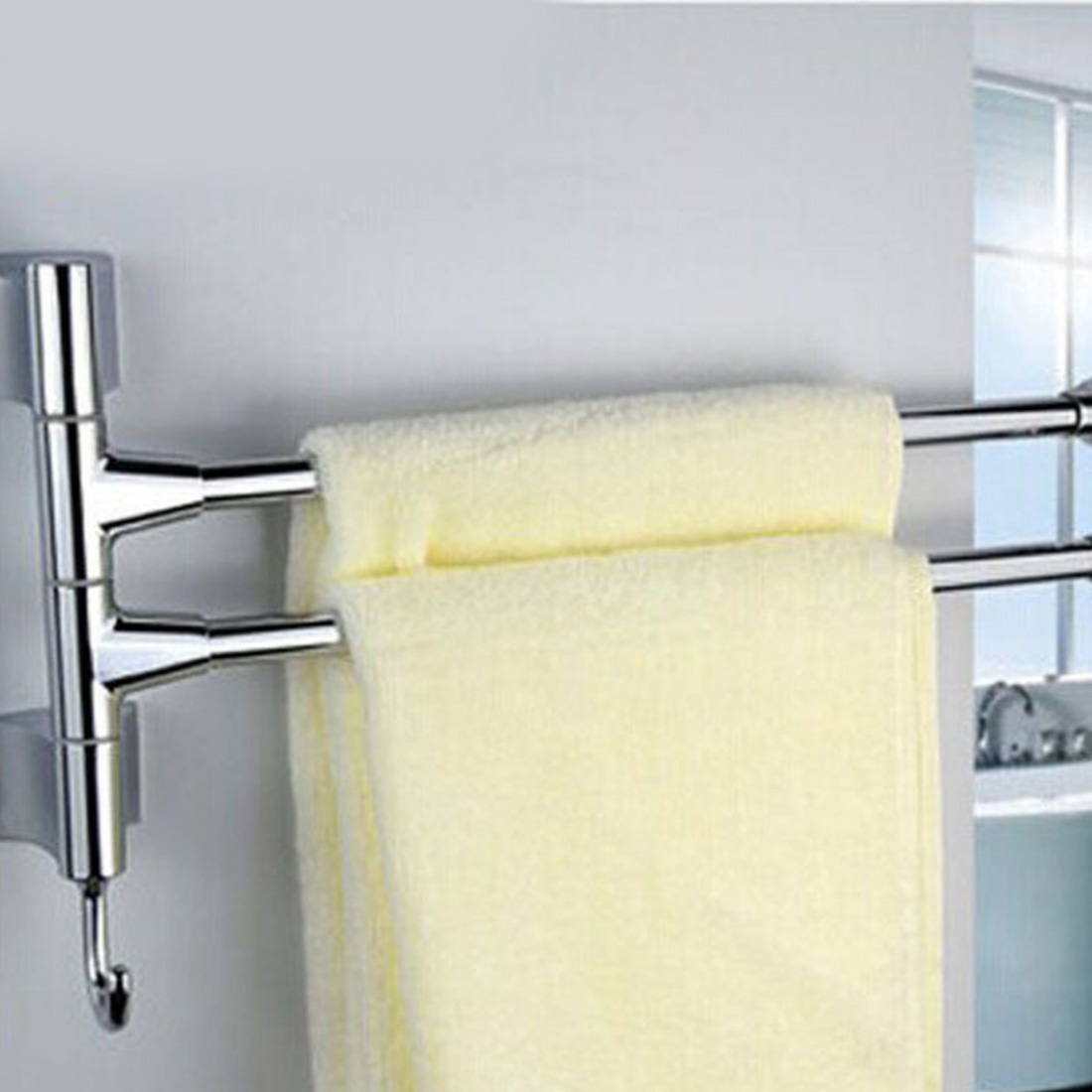 Bathroom Kitchen Towel Polished Rack Holder Hardware Accessor Stainless Steel 2/3/4 Layers Shower Towel Bar Rotating Towel Rack