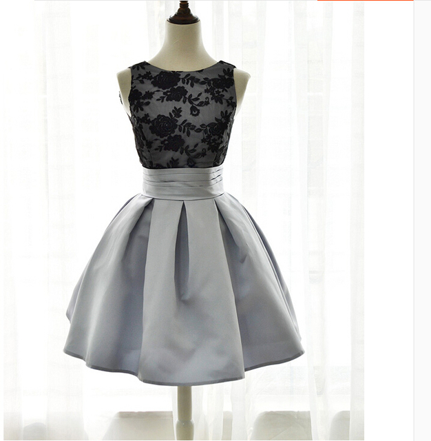 MDBRIDAL Black Grey Short Prom Dress V back Lace Top Short Ball Gown ...
