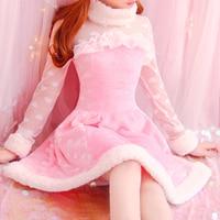 Autumn Women Sweet Japanese Princess Cute Lace long sleeve Slim Winter Flannel dress Heart Print Soft Sister Young Girl Vestidos