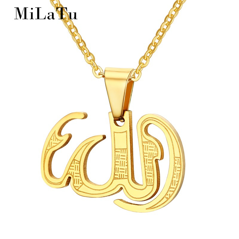 MiLaTu Mohammed Allah Pendant Necklace For Men Women Gold-color Stainless Steel Middle East Arabic Jewelry JNE242G