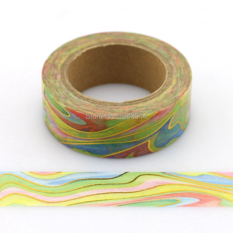 1pc Golden Rainbow Marble Foil Washi Tape Watermark Japanese Paper DIY Masking Tape Adhesive Tapes Stickers Decorative Tapes