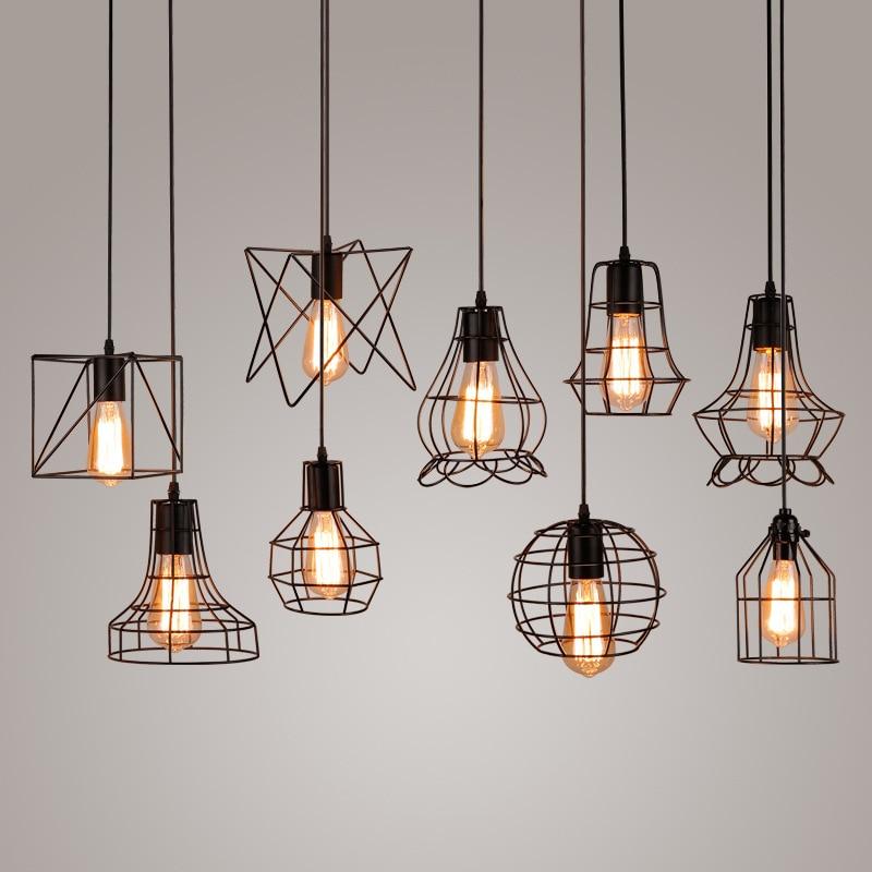 modern black cage pendant lights iron minimalist retro Scandinavian ...