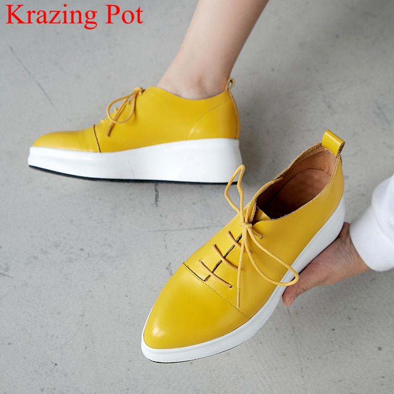 Brand Pointed Toe Thick Bottom Solid Lace Up Casual Shoes Increasing Sneaker Preppy Style Platform Women Vulcanized Shoes L7f9