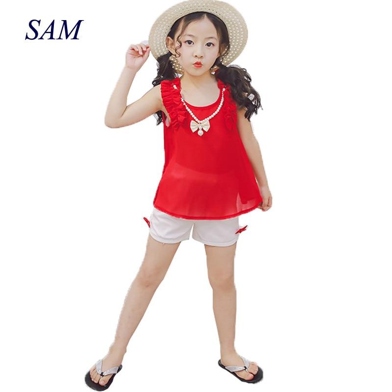 Dívčí oblečení Sady 2019 Nové letní dívky oblečení bez rukávů Chiffon náhrdelník Tops + šortky obleky Dětské oblečení
