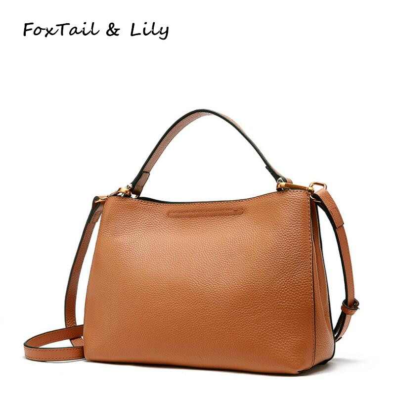 FoxTail & Lily Women Cow Leather Handbag Luxury Famous Designer Shoulder Bag Genuine Leather Small Crossbody Messenger Bags