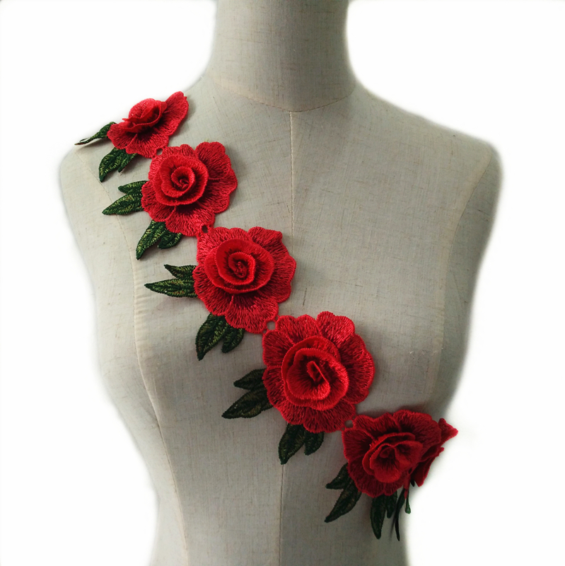 Embroidery Rose Flower Floral Lace Sewing Applique Collar Neckline Applique new