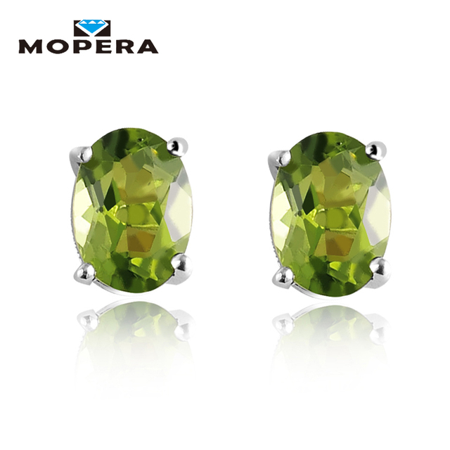 1.72ct Oval Natural Peridot Earrings Stud Genuine 925 Sterling Silver Jewelry Fa