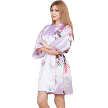 New Wedding Bride Bridesmaid Robe Floral Bathrobe Short Kimono Night Robe Bath Robe Fashion Dressing Gown For Women One Size T12