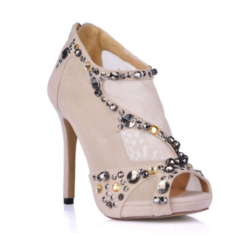 Sexy High Heels Party Dress Shoes Woman Fashion String Bead Summer Open Toe Ankle Boots Rhinestone Pumps Crystal Ladies Sandals summer woman fashion sexy sandals women open toe high heels dress shoes ladies party pumps sandals female shoes free shipping