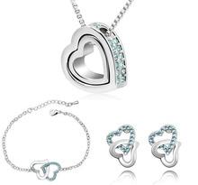 Free Shipping charm women quality Czech AAAA+ rhinestones popular Double Heart necklace earrings bracelet fashion Jewelry Sets