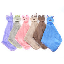 Rabbit Hand Towel Quick Dry Kitchen Cartoon Animal Hanging Cloth Soft Plush Dishcloths Hand Towel For Bathroom(China)