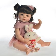 """De silicona muñecas reborn 22 """"55 cm chica cuerpo bb renacido bebés bebé para niños Regalo de Cumpleaños de bebes renacer realista"""