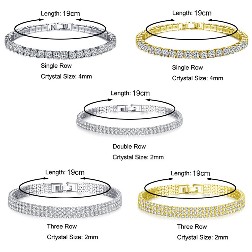 Liuyuwei Fashion Cubic Zirconia Tennis Bracelet & Bangle Gold Silver Color  1