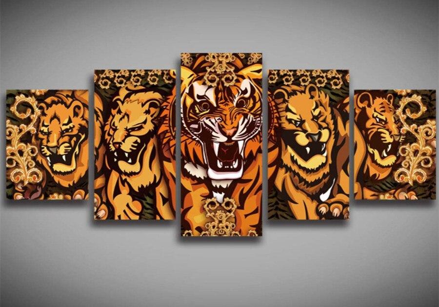 Mode Salon Décor 5 pièces de Tigre Animal Mur Autocollant 5d bricolage Diamant Peinture Point De Croix Collé Motif De Broderie Kits