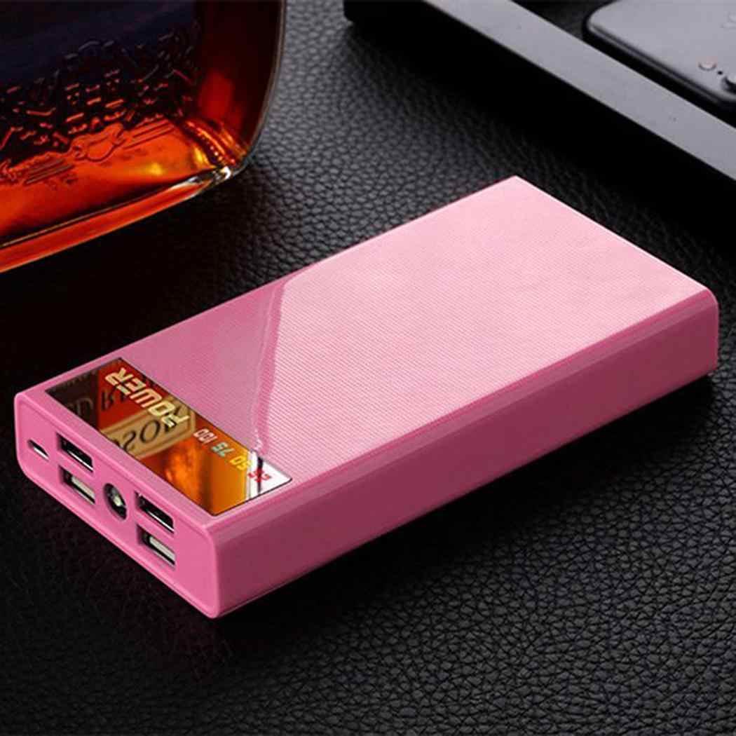 Portable Power Bank Case LCD Display LED Flashlight Power Bank Case 4 USB Ports External Battery Charger Shell DIY Black Pink