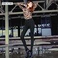Korean style women elastic cotton jeans high quality fashion sexy all match black color slim pencil cowboy denim pants D163