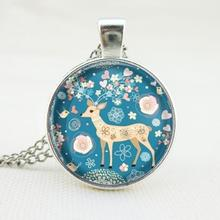Hot silver antique bronze chock necklace christmas gift art picture deer glass cabochon necklace pendant necklace