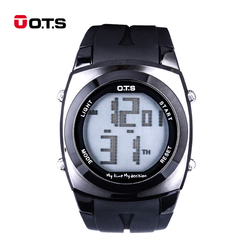 O.T.S Fashion relogio masculino Digital Watch with Black Light Stopwatch Waterproof Sports Mens Eletronicos Wristwatch 48