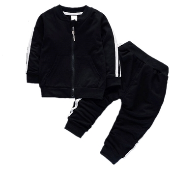 Fashion Spring Autumn Baby Boys Girls Cotton Jacket Pants 2pcs/sets Infant Tracksuit Kids Clothing Suts Children Zipper Clothes iyeal newest 2018 spring autumn baby girls clothes sets denim jacket tutu dress 2 pcs kids suits infant children clothing set