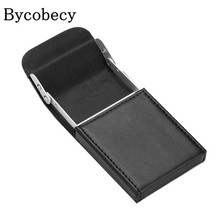 BYCOBECY Men Black Business Name Card Holder Flip Cover Automatic Pull Type Card Box Big Capacity ID Credit Card Case