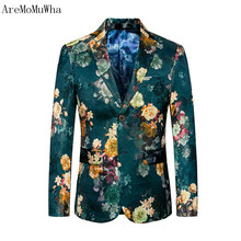 hot deal buy aremomuwha 2018 new spring autumn slim print suits men single breasted plus size blazers 6xl fit men's printed suit coats qx016