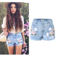 SUNSPA Embroidery Denim Shorts Floral High Waist Jeans Short Femme Frayed Shorts For Women Summer Shorts