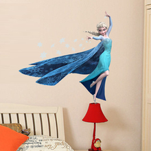 Disney Cartoon Elsa Queen Snowflakes Frozen Movie Wall Stickers For Kids Room Home Decoration DIY Girls Room Mural Art Poster недорго, оригинальная цена