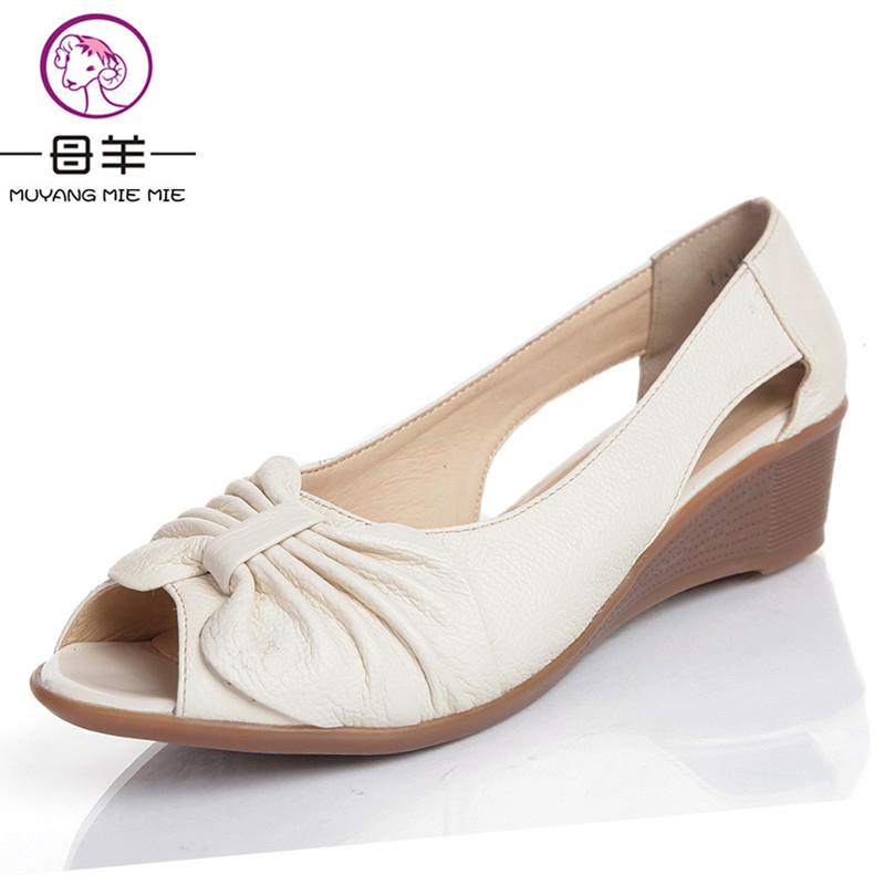 Fashion 2017 New Summer Shoes Woman Open Toe Shoes Women Genuine Leather Wedge  Sandals Platform Sandals Women Sandals-in Middle Heels from Shoes on ...