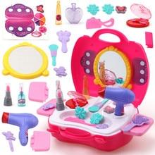 Fingir Jogar Make Up Toy 21 pçs/set Make Up Set Cabeleireiro Simulação De Brinquedo de Plástico para As Meninas de Vestir Cosméticos Saco de Transporte caso