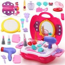 Juego de simulación de juguete de maquillaje 21 unids/set Set de maquillaje peluquería simulación de juguete de plástico para niñas vestido de cosméticos bolsa de transporte
