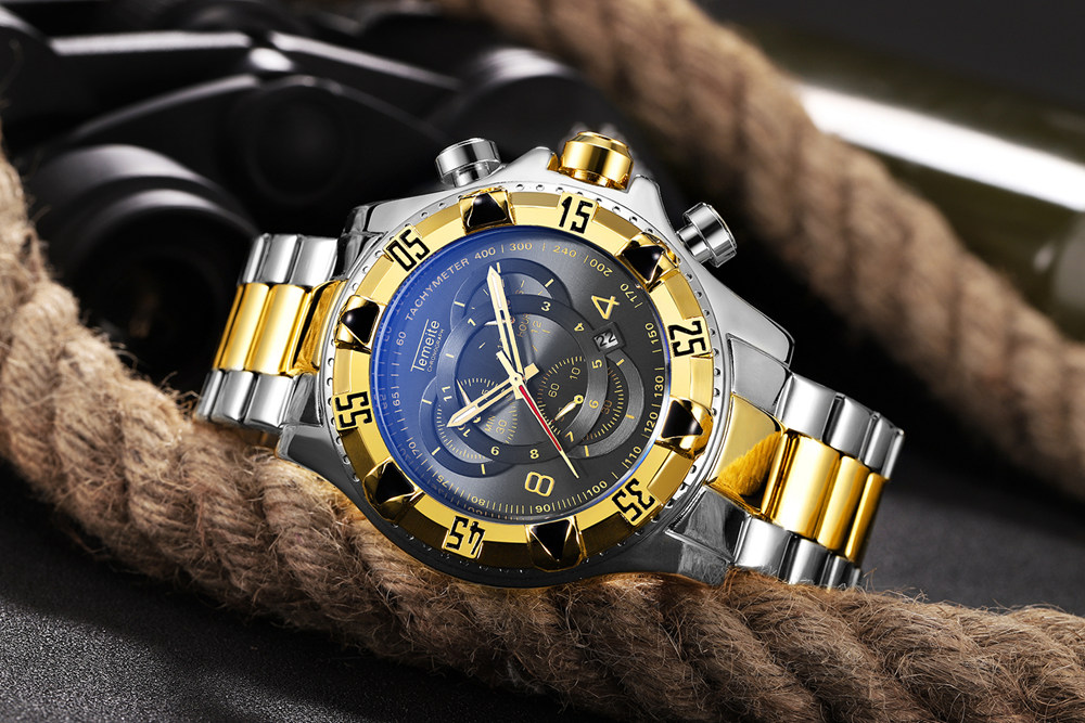 19 Top Brand Luxury Mens Oversize Watch Gold Business Steel Quartz Clock Waterproof Sport Military Chronograph Male Wristwatch 27