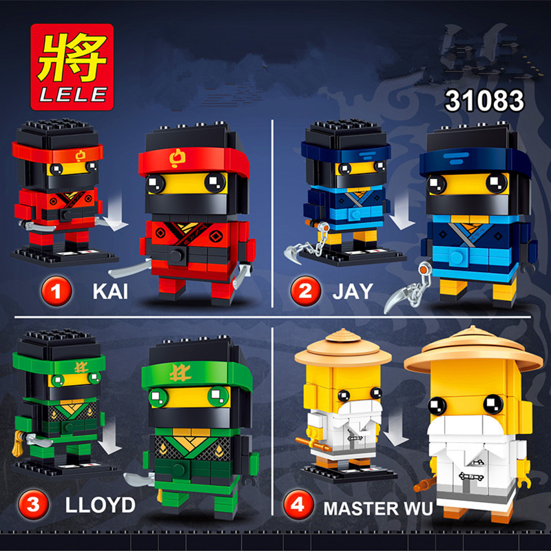 NINJAGO Brickheadz Kai Jay Lloyd Master Wu  ninja Heroes figures Compatible With Legos Model Building Block Set Kids Brick ToyNINJAGO Brickheadz Kai Jay Lloyd Master Wu  ninja Heroes figures Compatible With Legos Model Building Block Set Kids Brick Toy