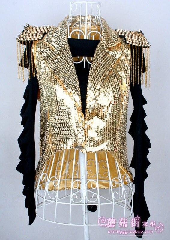 Lady Sequin Waistcoat Tuxedo Jackets Sleeveless Tassels Glitter Dance Jazz Shiny