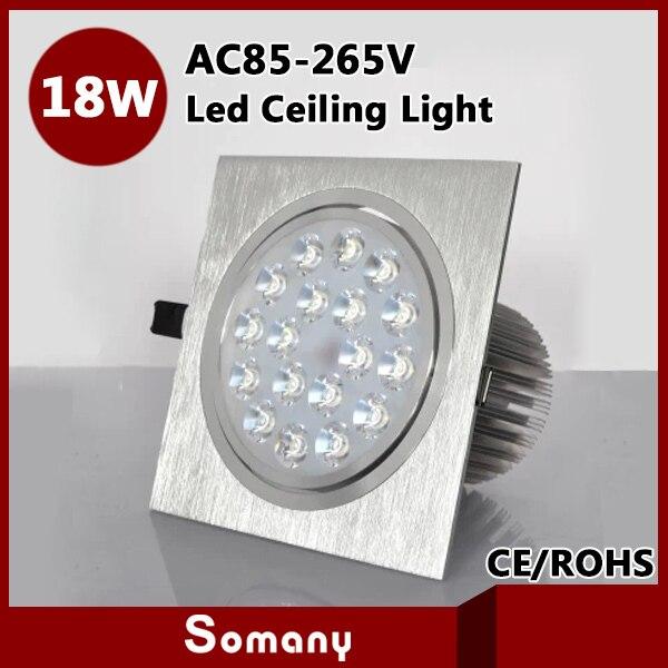 ФОТО High Power 18W Modern Led Down Lighting Aluminum Living Room Led Night Lamp CE&ROHS AC85-265V 1800LM Led Square Ceiling Lighting