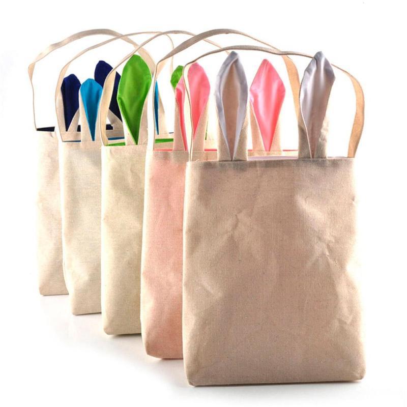 1pc Cotton Jute gift Bag Easter Bunny Rabbit Ears Bag Shopping Gift Bags Wedding Festival Decor Bags Ornaments  #11020