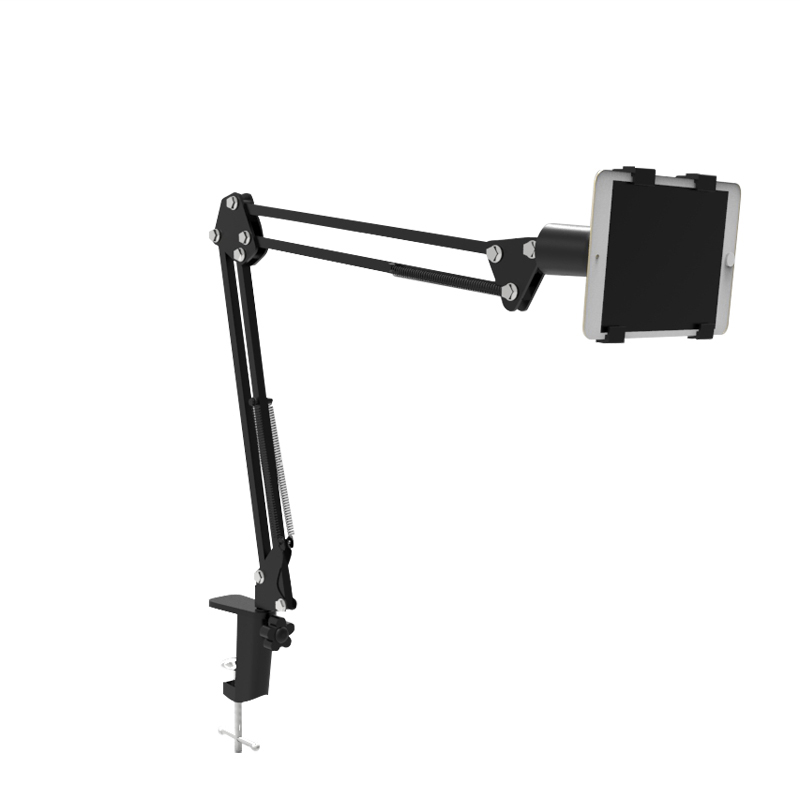 Sturdy Aluminum Tablet Stand,Hands Free Desk Holder 360 Swivel Foldable Easy lock Padded Telescopic Rack Mount for iPad/iphone