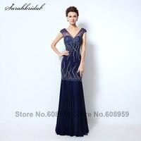 Luxury Navy Blue Mermaid Long Evening Dresses New Arrivals Sheer V neck Crystal Sequins Prom Dress Real Same Photos LSX032