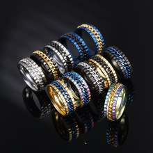 OLOEY Punk Cool Men Rings Fashion New Stainless Steel Ring For Male Creative Rotating Chain Finger Jewelry Ornament Boyfriends
