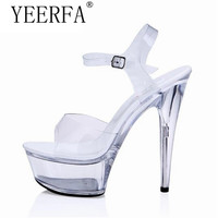 Plus Szie 34 44 Summer Ankle Strap Sandals Female Sexy Crystal Shoes Woman 15cm Thin High