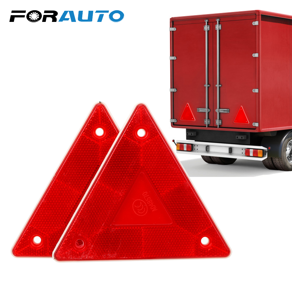 FORAUTO 2 Pcs Triangle Warning Reflector Stop Warning Sign Reflective Safety Sign Board Truck Plate Red Rear Light