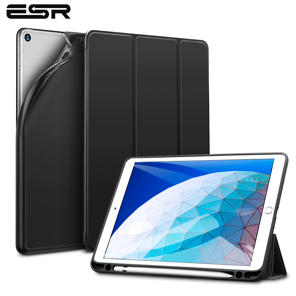 ESR Case for iPad Air 3 2019 Folio Rubber Oil Cover Ultra Slim Smart Case Soft TPU Back Case with Pencil Slot for iPad Air 2019(China)