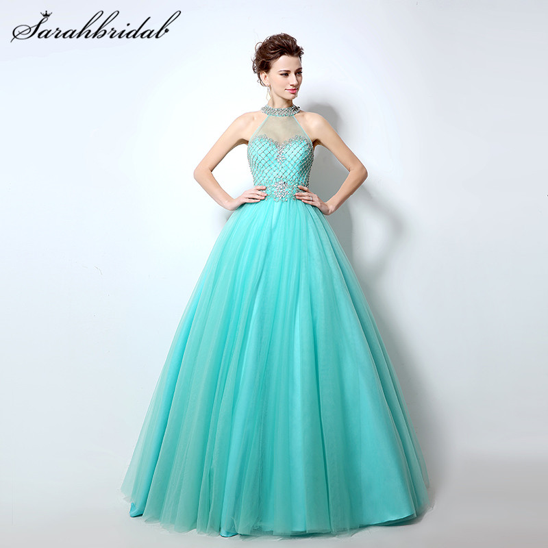 Sexy Modern Backless Long Evening Dresses Halter sleeveless Tulle Beaded Crystals Prom Party Gowns A Line